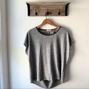 Halston Leather Collar Drape Back T-shirt Grey